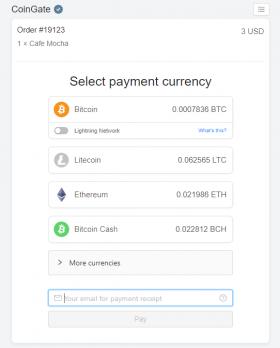 Beispiel für ein Payment Gateway mit Unterstützung für Kryptowährungen